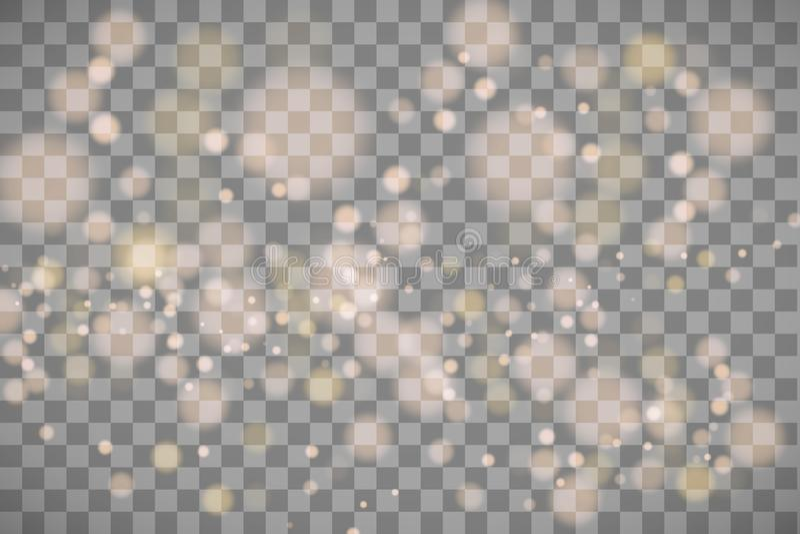 Helle abstrakte glühende bokeh Lichter Bokeh den Lichteffekt, der auf transparenten Hintergrund lokalisiert wird Festliches Purpu lizenzfreie abbildung