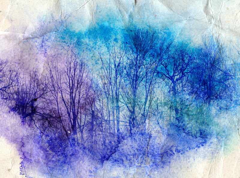 Helle Aquarelllandschaft mit Bäumen vektor abbildung