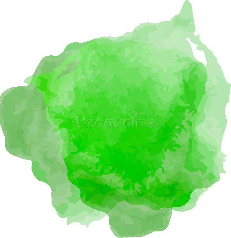 Helle Aquarellstellenillustration auf Grün stock abbildung