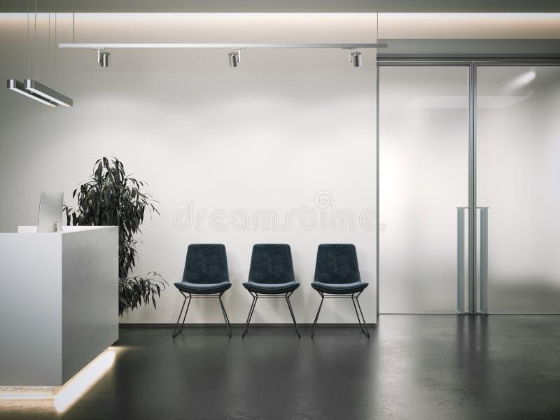 Helle Büroaufnahme mit Wartebereich Wiedergabe 3d stockfotos