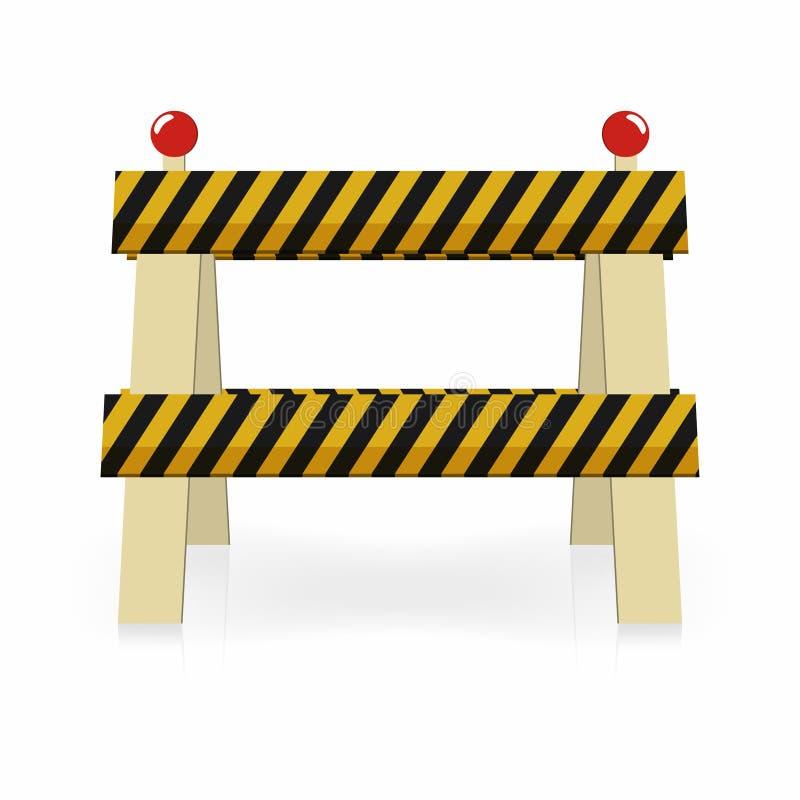 Helle Bauikone des Zauns Im Bau Straßenverkehrssperre Schwarze und gelbe Streifen mit Lichtern lizenzfreie abbildung