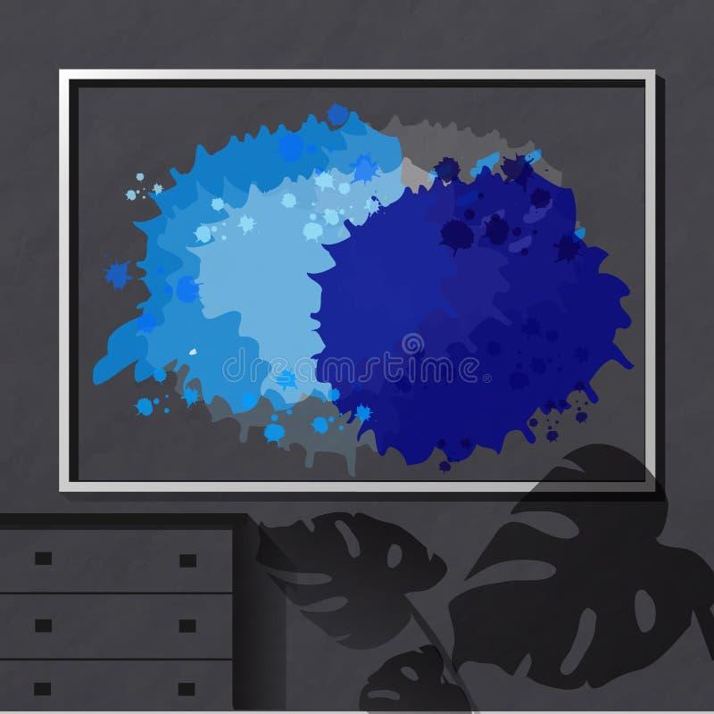 Helle blaue Stellen im Textrahmen stock abbildung