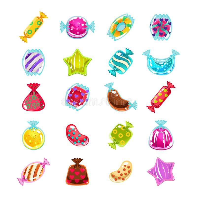 Helle bunte glatte Süßigkeiten mit Scheinen Glänzendes und glattes Schild und Taste mit den blauen und weißen Farben vektor abbildung