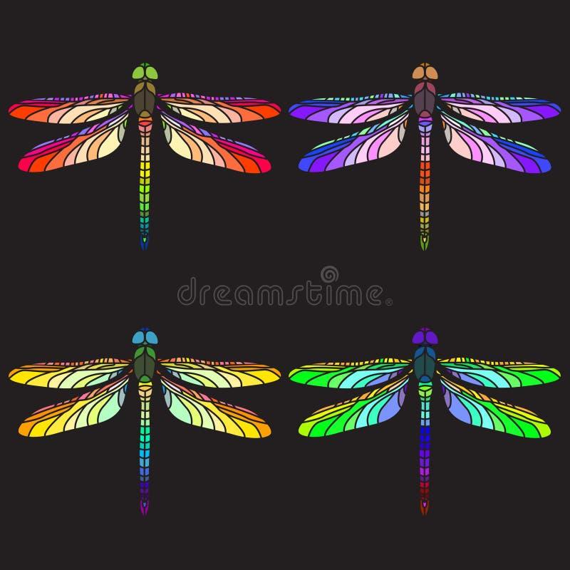 Helle bunte Libellen lizenzfreie abbildung