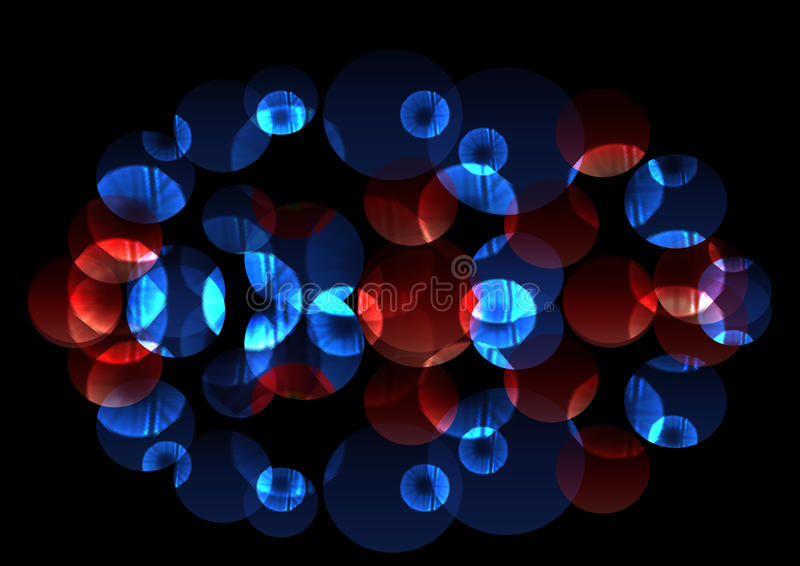 Helle chaotische leuchtende blaue und rote Kreise lizenzfreie abbildung