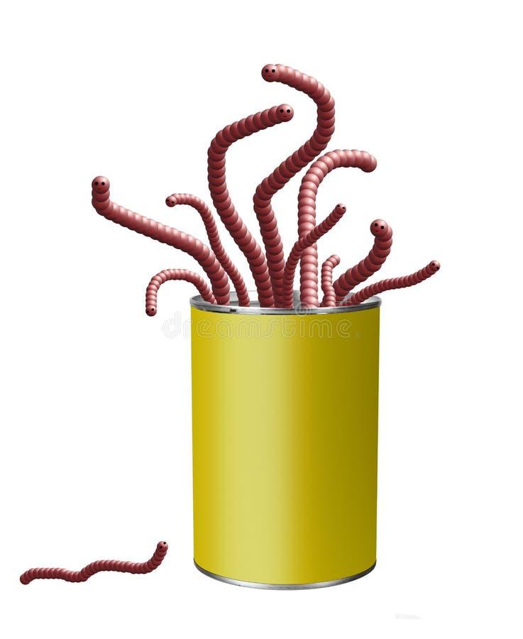 Helle Dose Würmer lokalisiert auf Weiß Konzept, Metapher Helles Zinn, nette Würmer Ohne Kennsatz lizenzfreie stockfotos