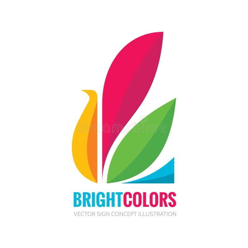 Helle Farben - vector Logoschablonen-Konzeptillustration im flachen Artdesign Abstraktes kreatives Zeichen des Vogels Schöne Natu vektor abbildung