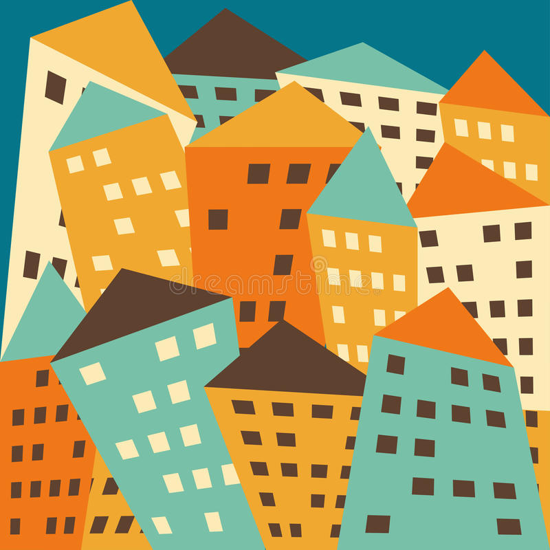 Download Helle Farbige Fiktive Verzerrte Häuser Des Vektors Vektor Abbildung - Illustration von perversion, haupt: 47100505