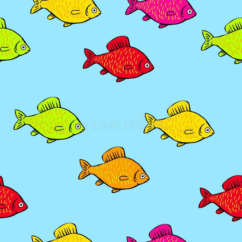 Helle farbige Fische des nahtlosen Musters auf einem weißen Hintergrund lizenzfreie abbildung