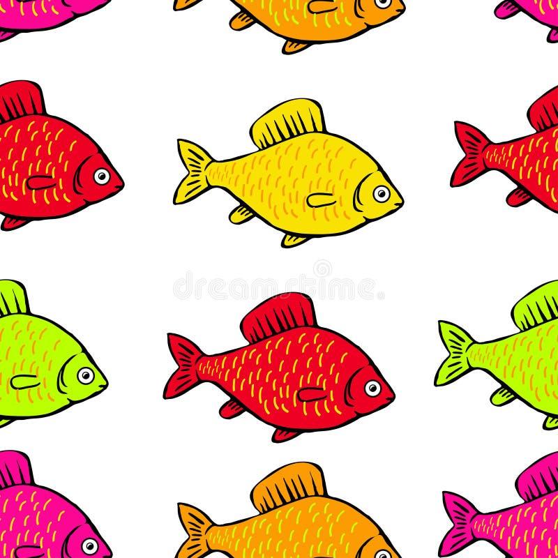 Helle farbige Fische des nahtlosen Musters auf einem weißen Hintergrund stock abbildung