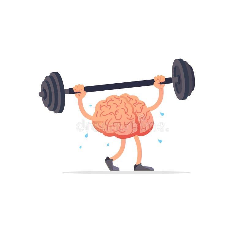 Helle flache Vektorillustration des Gehirns und des Gewichts lizenzfreie abbildung