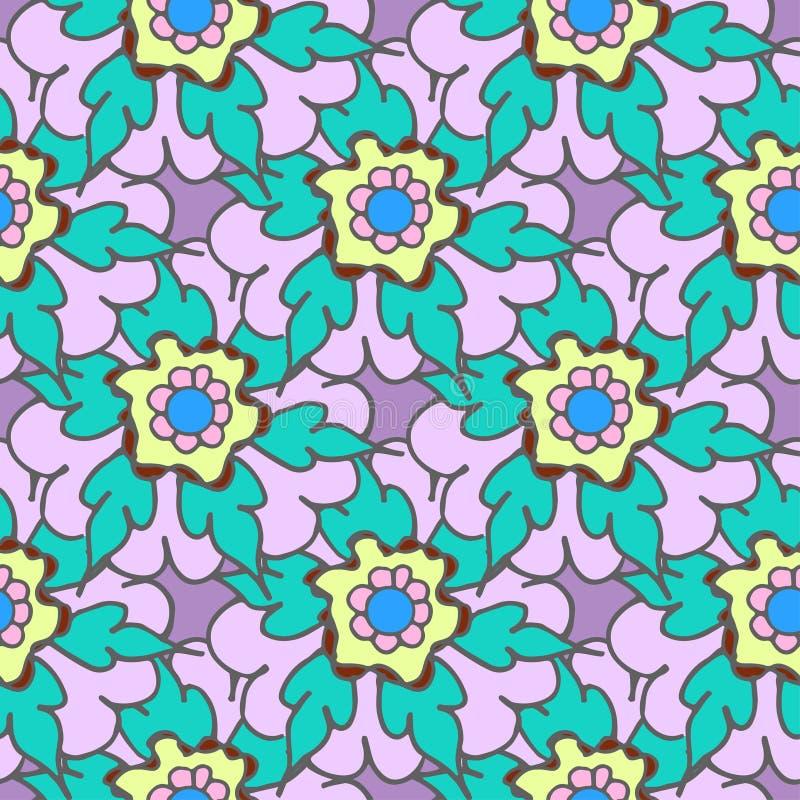 Helle gezeichnetes nahtloses mit Blumenmuster des Sommers Hand lizenzfreie stockfotos
