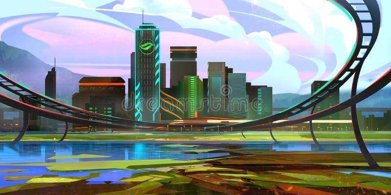 Helle gezogene fantastische zukünftige Landschaft mit Wolkenkratzern lizenzfreie abbildung