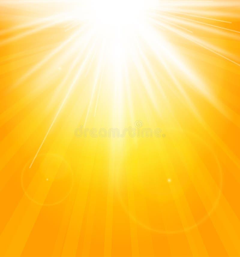 Helle glänzende Sonne mit Blendenfleck vektor abbildung