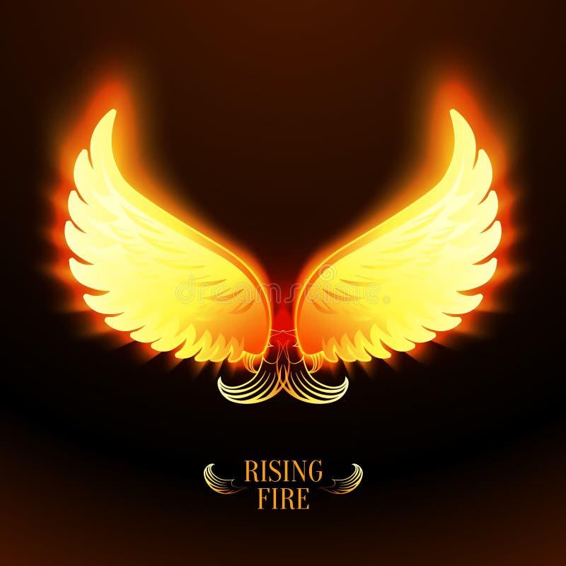 Helle glühende Feuerengelsflügel lizenzfreie abbildung