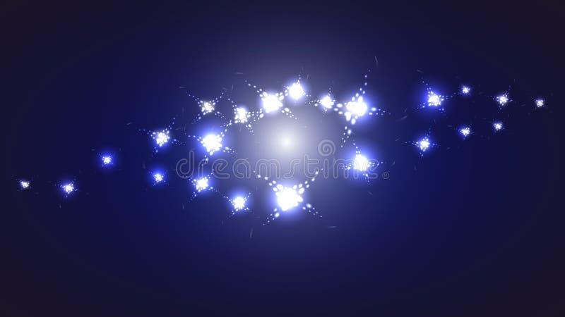 Helle glühende glänzende Beschaffenheit der blauen kosmischen magischen Energie der Zusammenfassung mit dem Bild der Galaxie, das stock abbildung
