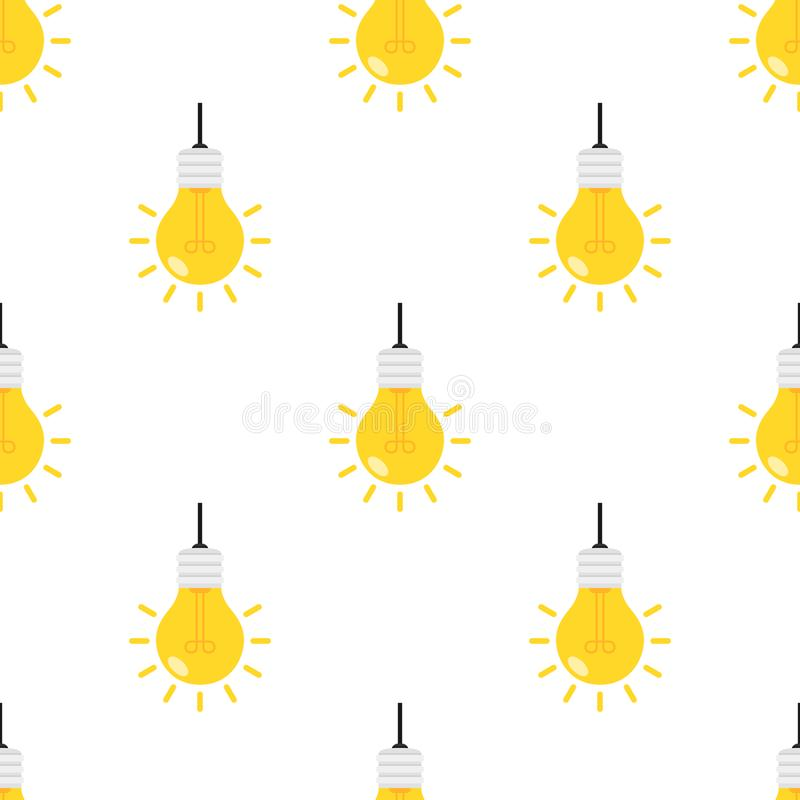 Helle Glühlampe-flache Ikonen-nahtloses Muster stock abbildung