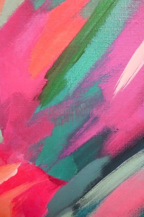 Helle große Anschläge der rosa und grünen Ölfarbe auf Segeltuch entziehen Sie Hintergrund stockfoto