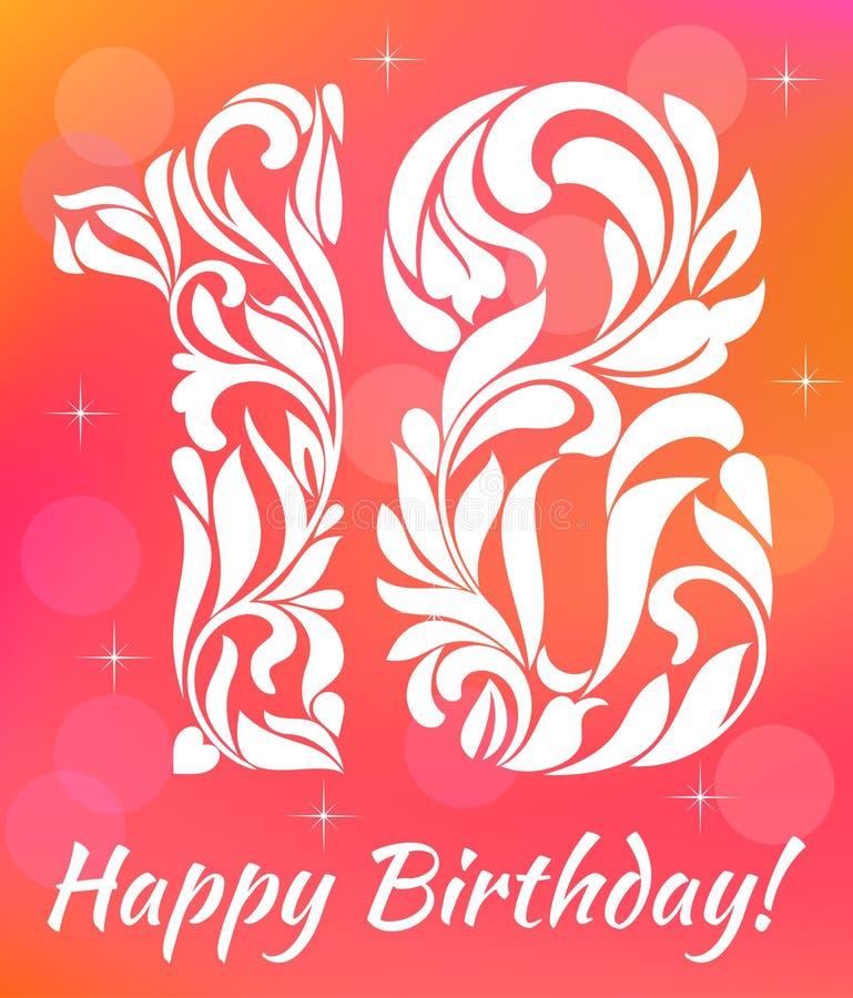 Helle Grußkarte Einladungs-Schablone 18 Jahre Geburtstag feiern lizenzfreie abbildung