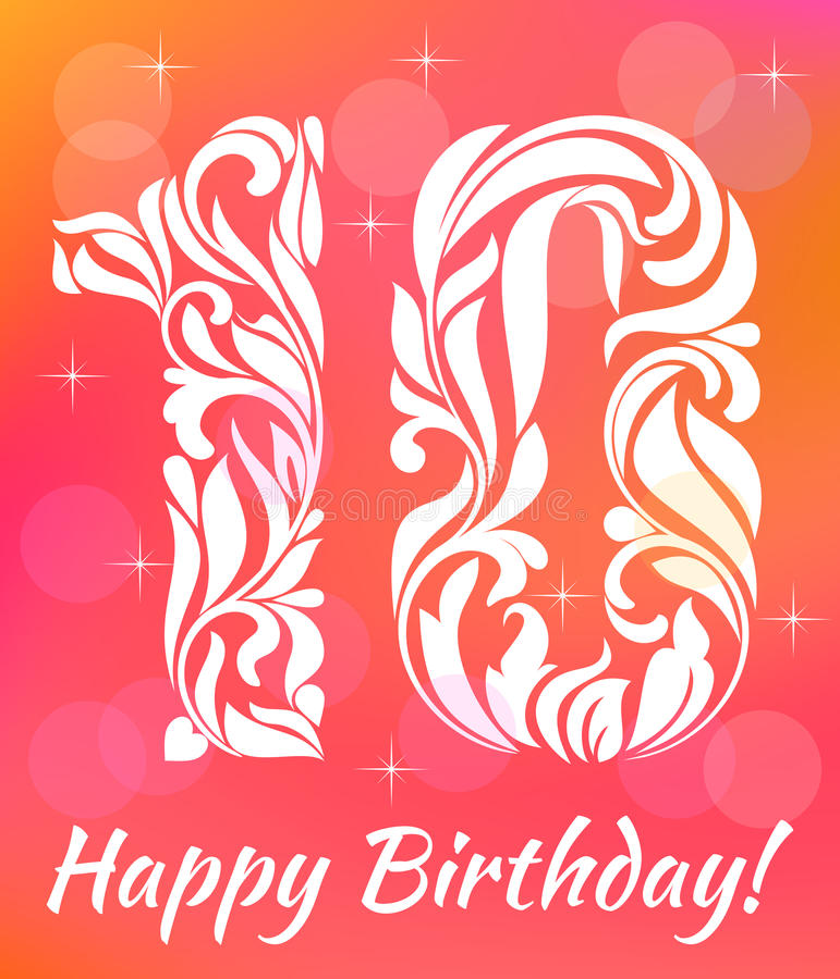 Helle Grußkarte Einladungs-Schablone 10 Jahre Geburtstag feiern Dekoratives Fon vektor abbildung