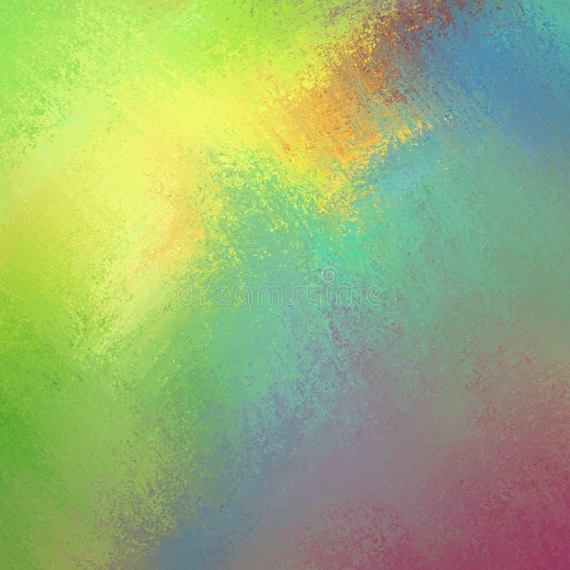 Helle heitre Farben im bunten Hintergrund, gelbes grün-blaues rosa und orange im mutigen Farbspritzen-Farbendesign lizenzfreie abbildung