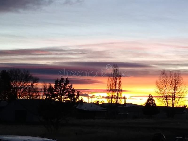 Helle Horizonte bei Sonnenuntergang stockfoto