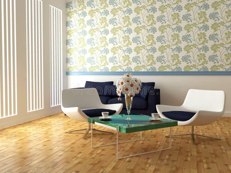 Helle Innenarchitektur des modernen Wohnzimmers stock abbildung