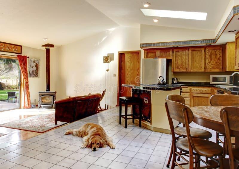 Helle Küche mit Speiseraum und Wohnzimmer lizenzfreies stockfoto