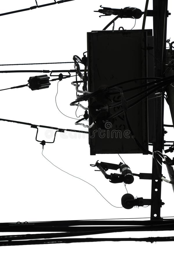 Helle Kabel im Schwarzweiss-Minimalisten der weißen Himmelzusammenfassung für Entwurf lizenzfreie stockfotografie