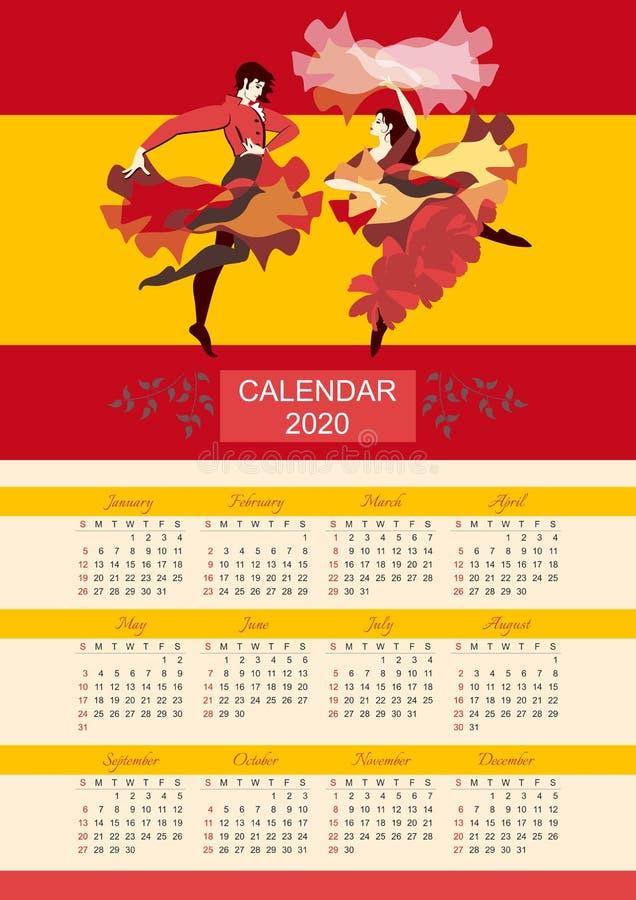 Helle Kalenderschablone für 2020-jähriges Tanzender Flamenco der sch?nen spanischen Paare lizenzfreie abbildung