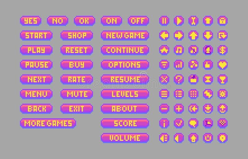 Helle Knöpfe der Pixelkunst Dekorative GUI-Elemente stock abbildung