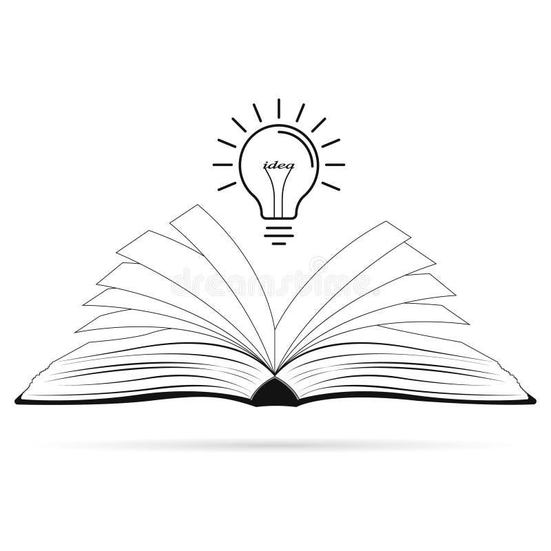 Helle kreative Idee Glühlampe über geöffnetem Schwarzbuch Konzept einer Idee stock abbildung