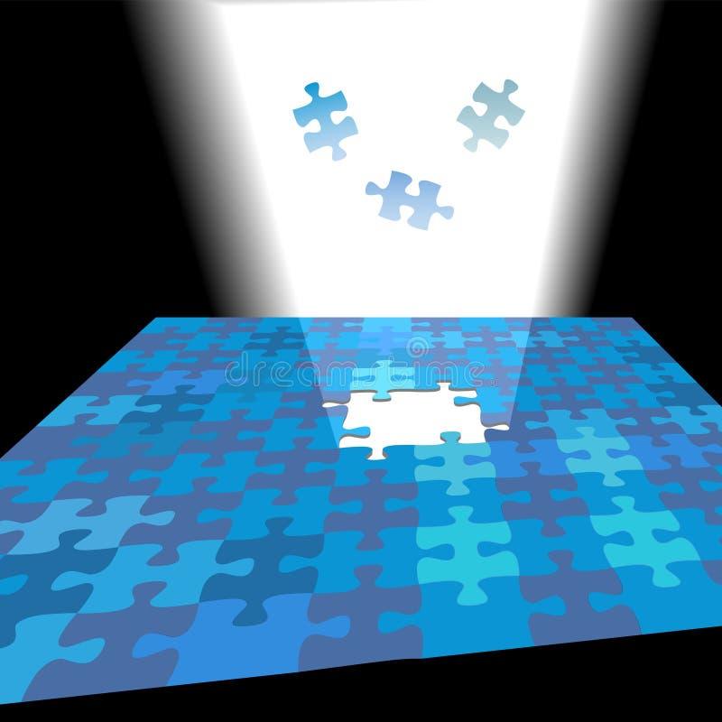 Helle Lösung glänzt oben als Puzzlestücke vektor abbildung