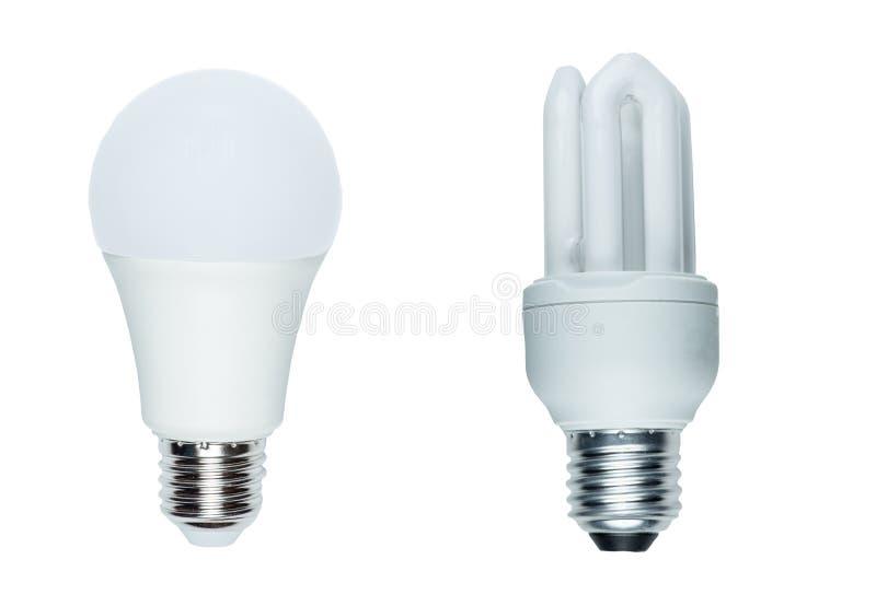 Helle LED-BIRNE ECO, kompakt-Leuchtstoff lokalisiert auf weißem Hintergrund lizenzfreie stockfotografie