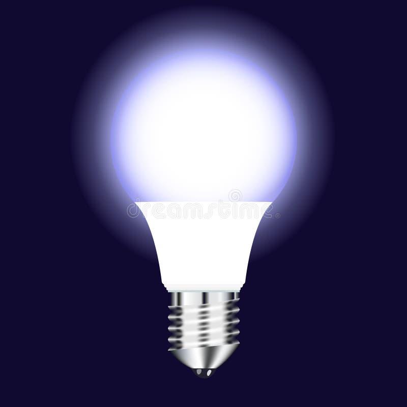 Helle LED Lampe der Vektorzeichnung mit kaltem Glühen auf einem dunklen Hintergrund lizenzfreies stockbild