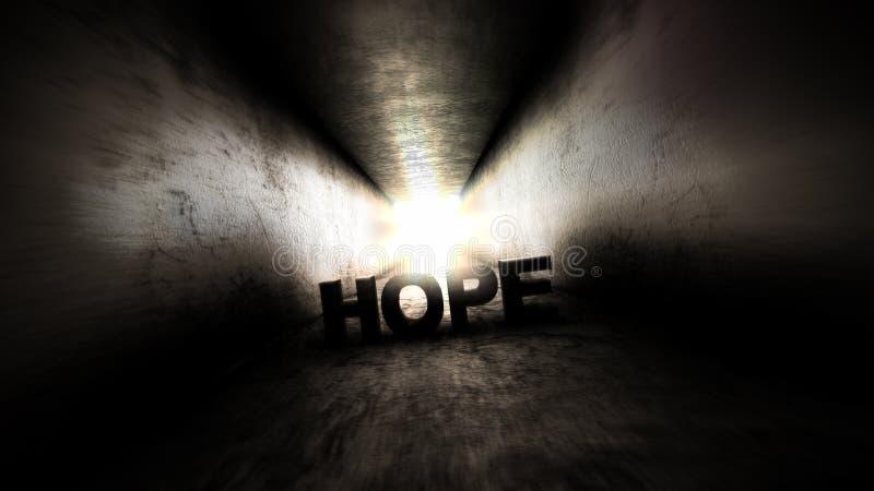 Helle Leuchte am Ende von Es gibt immer Hoffnung lizenzfreies stockbild