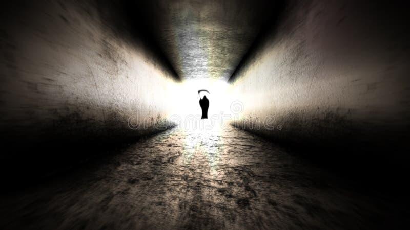 Helle Leuchte am Ende von Tod am Ende der Reise stockbild
