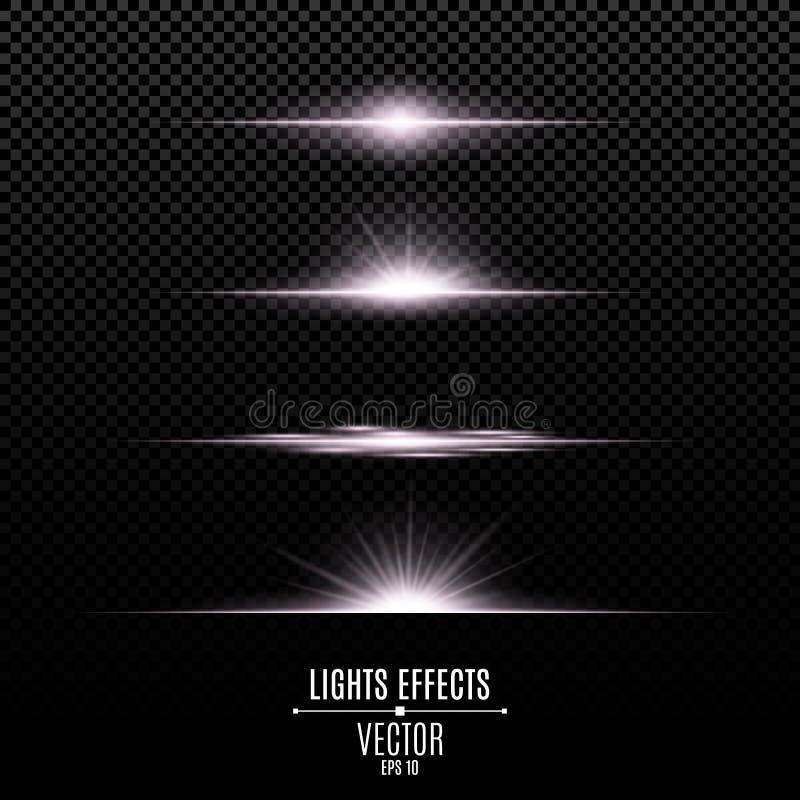 Helle Lichteffekte auf einen transparenten Hintergrund Helle Blitze und greller Glanz der weißen Farbe Helle Strahlen der Leuchte stock abbildung