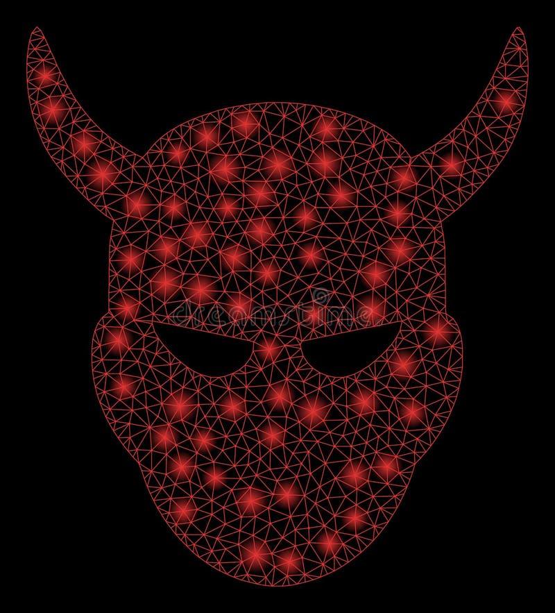 Helle Masche 2D Daemon Head mit grellen Stellen lizenzfreie abbildung