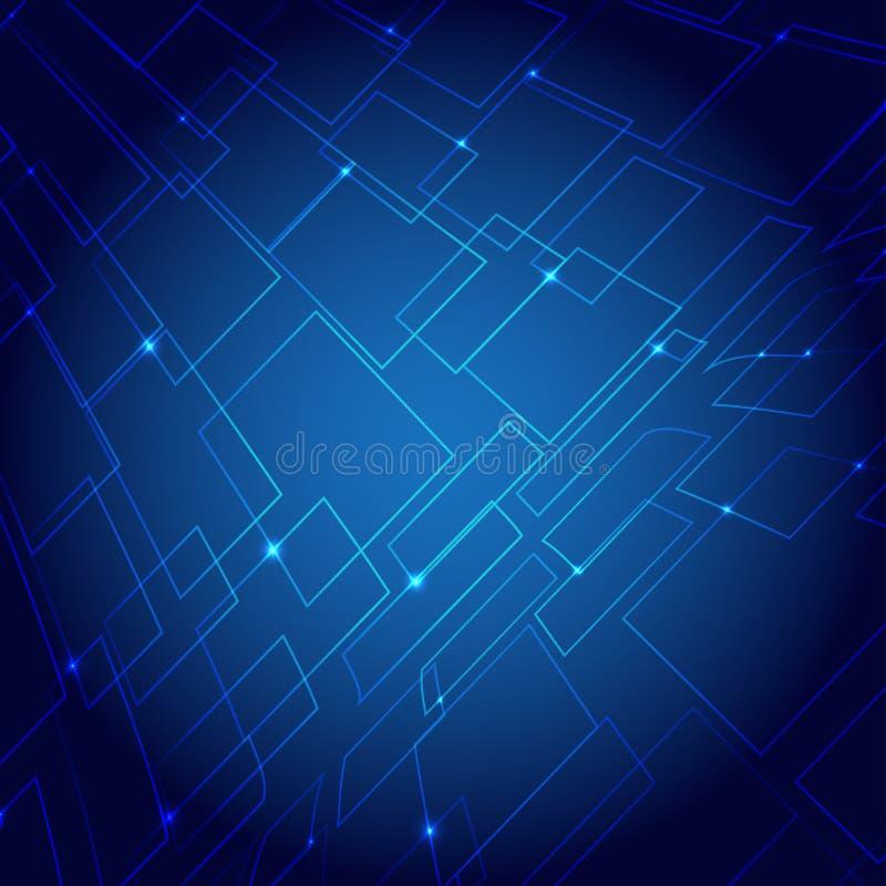 Helle Mitte der virtuellen blauen Hintergrundsteigung des Technologievektors stockfoto