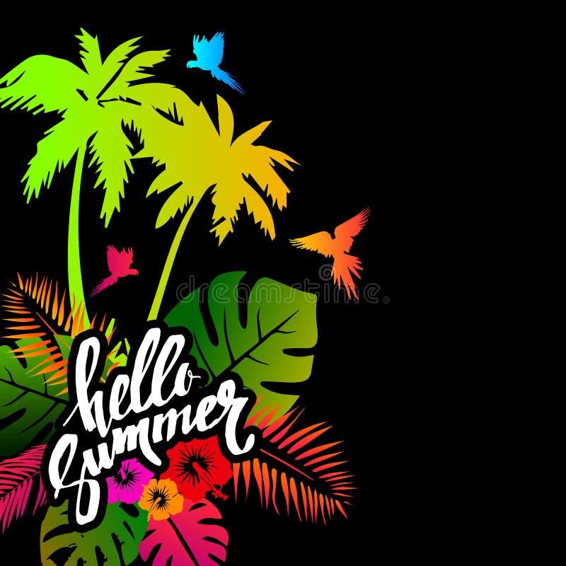 Helle Palme, in den Tropen mit Blumen lizenzfreie abbildung