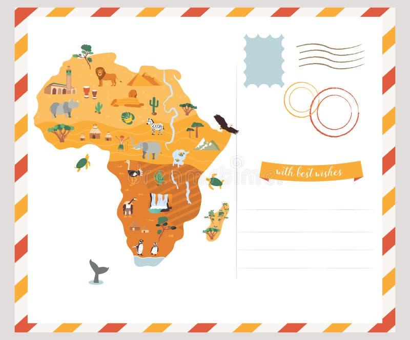 Helle Postkarte mit Karte von Afrika lizenzfreie abbildung
