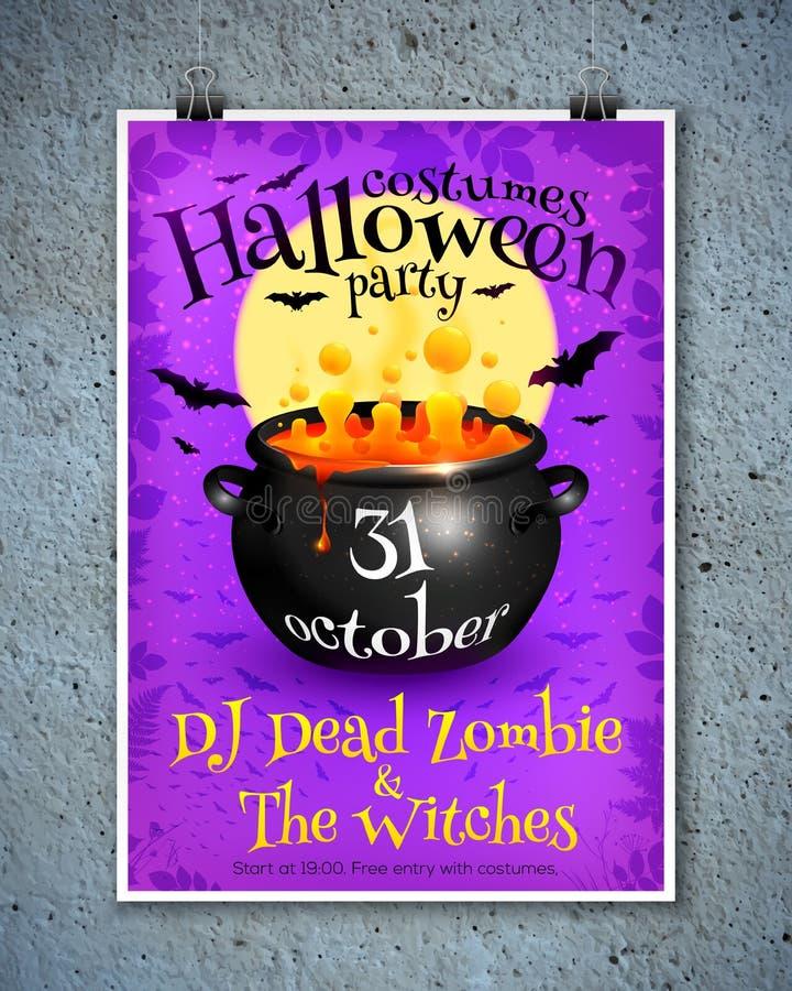 Helle purpurrote Halloween-Parteiplakatschablone mit lizenzfreie abbildung
