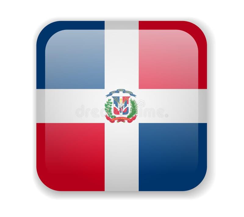 Helle quadratische Ikone der Flagge der Dominikanischen Republik auf einem weißen Hintergrund stock abbildung