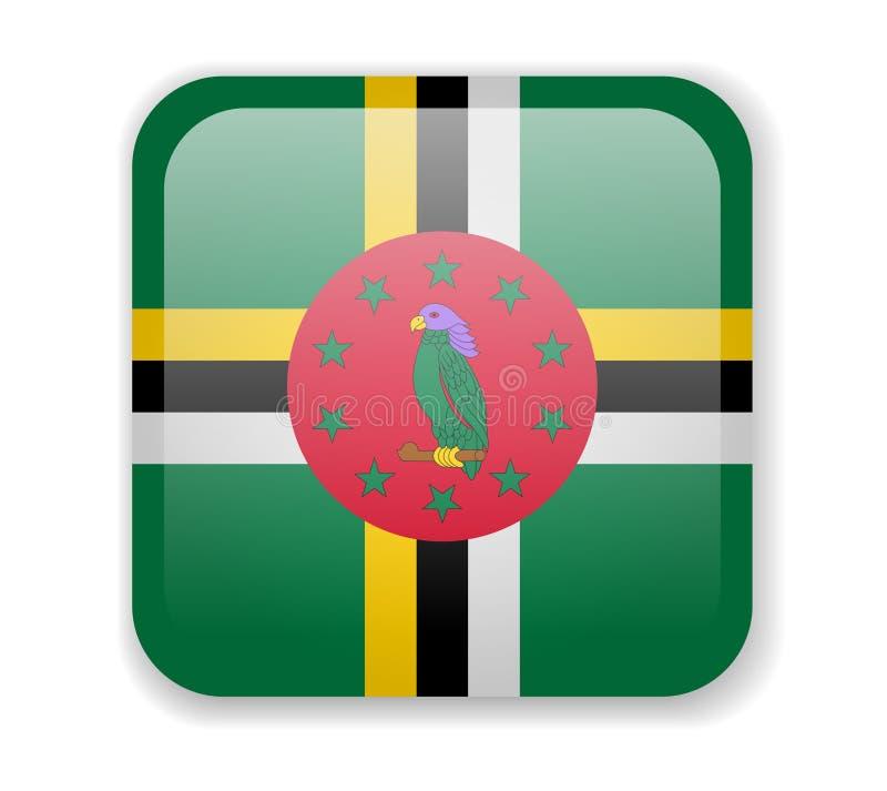 Helle quadratische Ikone Dominica-Flagge auf einem weißen Hintergrund stock abbildung