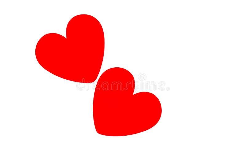 2 helle rote Herzen in den Winkeln lizenzfreies stockbild