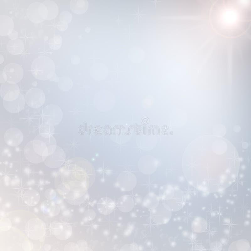 Helle Schneeflocke der weißen Leuchten des Weihnachtshintergrundes lizenzfreie abbildung