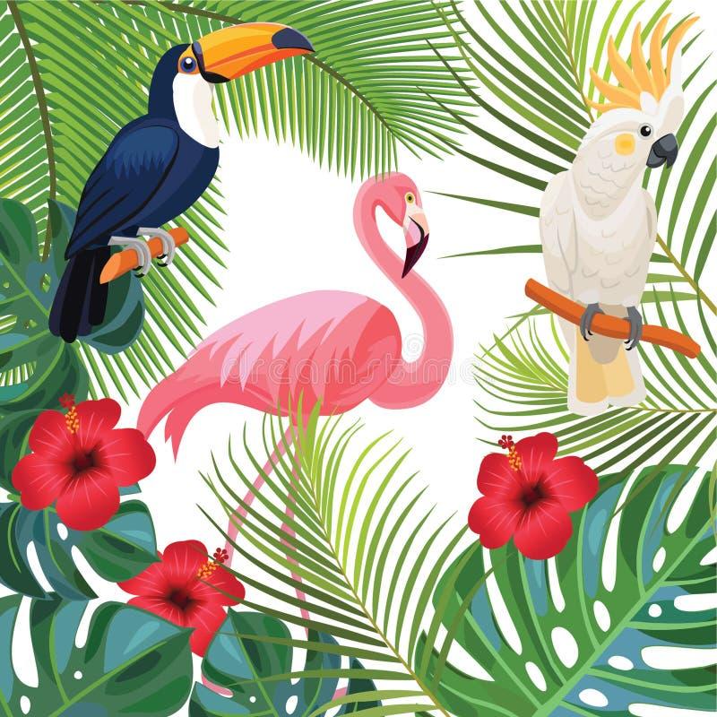 Helle Sommerillustration mit tropischen Anlagen und exotischen Vögeln vektor abbildung