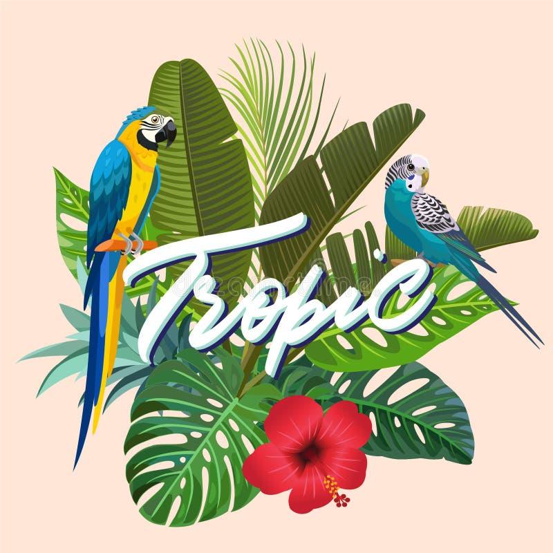 Helle Sommerillustration mit tropischen Anlagen und Papageien Auch im corel abgehobenen Betrag stock abbildung