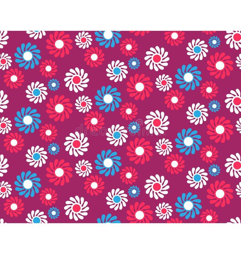 Helle Spaß-Zusammenfassungs-nahtloses Muster mit Blumen auf VI lizenzfreie abbildung